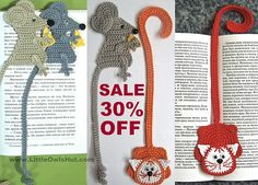 Cat and Mouse Bookmarks Amigurumi pattern by Little Owls Hut