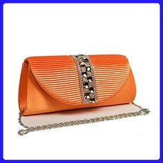 2f1167595 Evening Bag with rhinestones that made of satin with silver chain strap -  Evening bags (