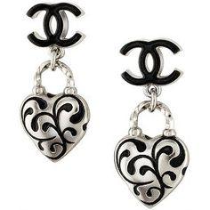 Chanel Heart Enamel Earrings