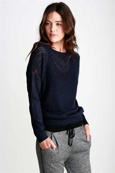 I dig the whole look - Charlie Pullover Sweater in Midnight - Perfect on a casual day, Diamond Lace Knit Pullover in beautiful Midnight. Wear over a Cami for a chic layered look. For a Relaxed fit go a Size Up.