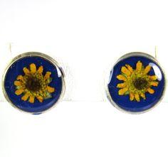 Sunflowers on Blue  Pressed Flower by PressedFlowerJewelry on Etsy, $20.00