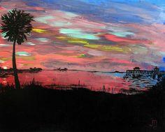 Deep Pink Sunset by J. Travis Duncan  Acrylic Coastal by panoplei