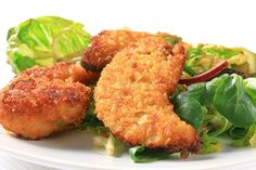 Hungry Girl's Faux-Fried Chicken Strips with Side Salad - made with crushed bran cereal and baked