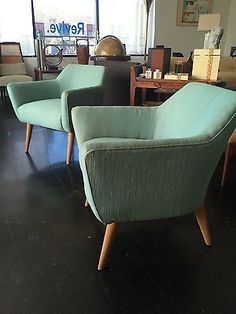 Rare Signed Heywood Wakefield Lounge Chairs Mid Century Eames Dunbar  Baughman