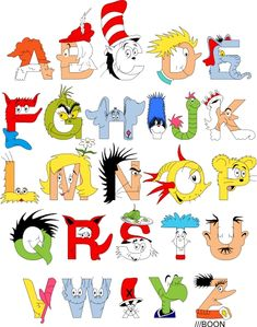 Dr. Seuss alphabet by Mike Boon, in which A is for Aunt Annie, B is for Bartholomew Cubbins, and C is for the Cat in the Hat. Full explanation plus link for prints at the source.