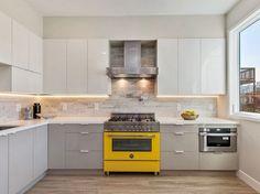 In the kitchen, Bertazzoni ranges, yellow oven