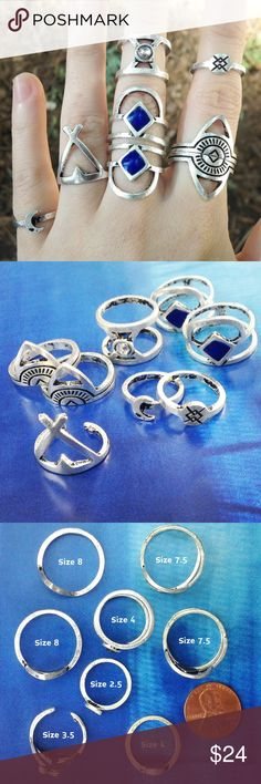 Boho Silver tone Rings (8) Chic!! 8 ring set in antique silver tone. Tribal inspired geometric designs. 1 ring has crescent moon charm. 1 ring faux moonstone, double band. 2 rings faux lapis blue enamel, double band. 3 rings black etching. Sizes 2.5, 3.5, 4, 7.5, 8 as noted in photo 3. Brand new. Each ring is beautiful on its own with endless stacking possibilities. Amazing! Candymuse Jewelry Rings