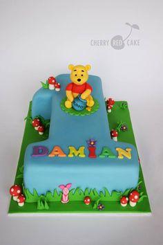 Winnie the Pooh cake Baby Boy Birthday Cake, 1st Birthday Cakes, 1st Birthday Parties, Birthday Ideas, Winnie Pooh Torte, Winnie The Pooh Birthday, Red Cake, Novelty Cakes, Cakes For Boys