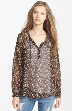 Pleione Print Peasant Blouse available at #Nordstrom this one is cute in the GREEN