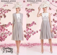 Ronald Joyce Veni -Infantino Collection Knee Length Dress with a Lace and Mesh Applique , Mikado Bodice , Chiffon Skirt with Matching Jacket Sizes 10 to 18 available
