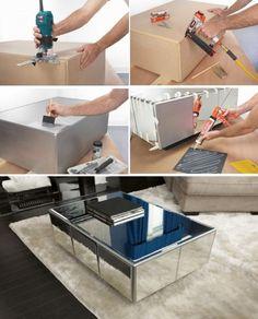DIY Como hacer tus propios muebles de espejo   Como hacer muebles de espejo http://comoorganizarlacasa.com/tus-propios-muebles-espejo/