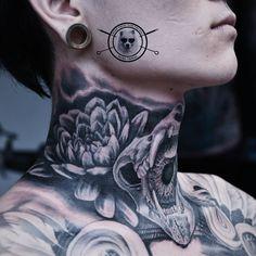 Photo by (dongtribal) on Instagram   #tattoo #tattooartist #tattooportrait #daisytattoo #skulltattoo #flowertattoo #necktattoo #oldschooltattoo #blackandgrey #linetattoo #blackandgreytattoo #neotraditionaltattoo #colourtattoo #ink #realistictattoo #artwork #fantasytattoo #photooftheday #nghethuatxamthuduc #xamnghethuat #thuduc #thc #thuducdistrict #vietnam #asian #instagram Fantasy Tattoos, Colour Tattoo, Neo Traditional Tattoo, Line Tattoos, Black And Grey Tattoos, Cover Design, Tattoo Artists, Vietnam, Tattoo Designs