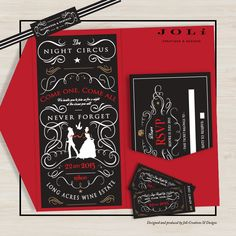 Matric Farewell Invitations - The Night Circus with Red / Black / White / Gold as colour scheme.  #makeitamomenttormember