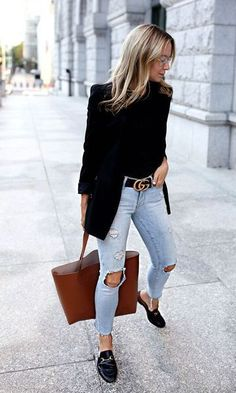 Look Blazer + Bolsa Shopping Mode Outfits, Fall Outfits, Casual Outfits, Fashion Outfits, Womens Fashion, Fashion Trends, Fashion Ideas, Fashion Clothes, Ladies Fashion