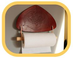 Paper Towel Holder – Kitchen Décor – Home Décor – Hand tooled Leather – Wood details – Handcrafted Leather Tooling, Tan Leather, Paper Towel Holder Kitchen, Kitchen Fabric, Festival Accessories, Wood Detail, Leather Pieces, To Color, Hand Tools