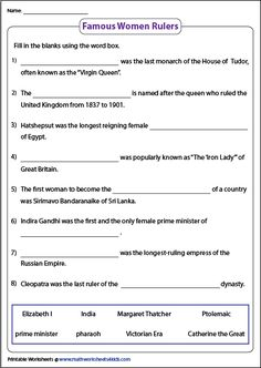 Grab these famous women in history worksheets featuring passages, flashcards to identify the famous female leaders, suffragists, rulers, pioneers and more. School Age Activities, Social Studies Worksheets, Notebook Ideas, Women In History, Famous Women, Ladies Day, Fill, Homeschool, Classroom