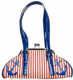 Sourpuss First Mate Nautical Anchor Purse Red White and Blue