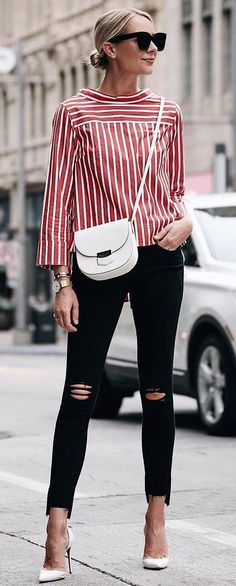Red & white striped top, black skinny jeans, white heels & crossbody bag