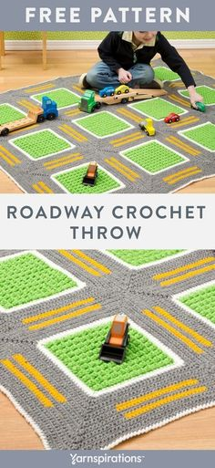 Free Roadway Throw crochet pattern using Red Heart Super Saver yarn. Looking for a sure favorite among imaginative kids? This crochet throw has laned roads for toy cars and trucks. Once playtime is over, it's the perfect cuddling blanket as they drift off into dreamland. #yarnspirations #freecrochetpattern #crochetthrow #crochetblanket #crochetafghan #kidsblanket #kidstoy #crochettoy #redheartyarn #RedHeartSuperSaver Crotchet Baby Blanket, Easy Crochet Blanket, Knit Or Crochet, Crochet Blanket Patterns, Crochet For Kids, Crochet Baby, Free Crochet, Crochet Blankets, Baby Blankets