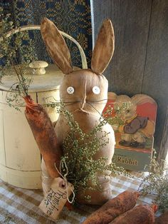 primitive easter | Primitive Easter Spring Bunny Rabbit Shelf SItter with Carrot and ...