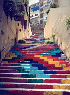 G A N T I L L A N O: STREET ART UTOPIA COLORFUL STAIRS