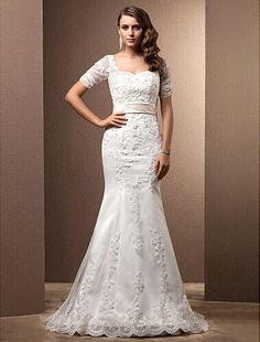 65bdc058a3a Lanting Bride Trumpet Mermaid Petite   Plus Sizes Wedding Dress-Sweep Brush Train  Sweetheart Lace
