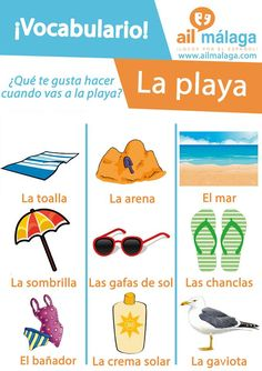 The #beaches in #Malaga are amazing! Here is some themed #Spanish #vocabulary related to it :) #SpanishVocab #SpanishSchool #LearnSpanish
