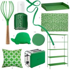 A dog leash, a rug, toaster, and more finds in kelly green.