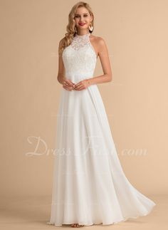 A-Line / Princess Scoop Neck Floor-Length Chiffon Wedding Dress .- A-Linje hög Hals Golvlång Chiffong Bröllopsklänning – Bröllopsk… A-Line / Princess Scoop Neck Floor-Length Chiffon Wedding Dress – Wedding Dresses – DressFirst - Short Chiffon Wedding Dress, White Gowns, Bridesmaid Dresses, Wedding Dresses, Wedding Supplies, Wedding Bells, Scoop Neck, Princess, How To Wear