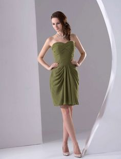 Army Green Mini Length Strapless Chiffon Bridesmaid Dress - Party Dresses