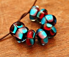 Purple Red and Blue Handmade Glass Bead Set by blancheandguy, $64.00