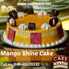 All fruit the great golden Mango rush in fresh vanilla sponge & cream available at our #Cake Shop.  For more info: www.cakepark.net Express Booking: 044-45535532