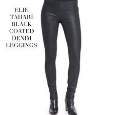 """ELIE TAHARI BLACK COATED DENIM LEGGINGS Elie Tahari """"Kidman"""" coated skinny denim leggings with yoked waist with elasticized panels and a Pocket-free silhouette. Full length. Material: Cotton/spandex. Imported. Condition: Excellent. Size 26 Elie Tahari Pants Leggings"""