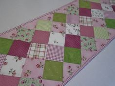 Spring Floral Quilted Table Runner in Pink Green and White, Quilted Table Topper, Cottage Chic Table Runner, Patchwork Dresser Runner by ForgetMeNotQuilteds on Etsy
