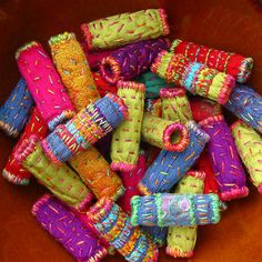 Dupioni Silk Quilted Fabric Beads   by BooDilly's