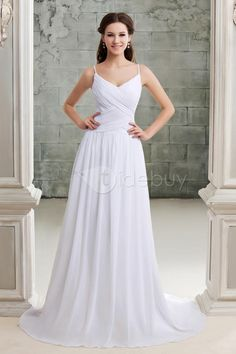 Empire Spaghetti Straps Wedding Dress