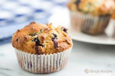 Blueberry Muffins ~ Fabulous blueberry muffins recipe —fluffy, and packed with blueberries.  An all time favorite. ~ SimplyRecipes.com