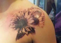#beautiful+#sunflower+#tattoo+by+Mikey+of+black+line+studio.jpg (406×283)
