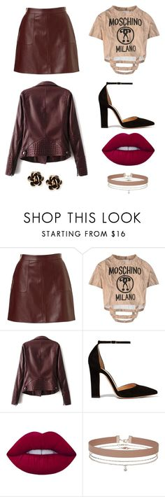 """On The Edge"" by smileforsierra ❤ liked on Polyvore featuring Moschino, Gianvito Rossi, Lime Crime, Miss Selfridge and Chantecler"