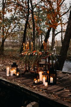 Intimate Autumnal Springfield, MO Forest Wedding at Rockspan Lodge Our heart's are pouring over this sweetheart candlelit wedding reception dinner just for the newlyweds Fall Wedding Colors, Wedding Reception Decorations, Autumn Wedding, Wedding Ideas, Reception Ideas, Fall Pumpkin Wedding, Woodland Wedding Inspiration, Wedding Centerpieces, Summer Wedding