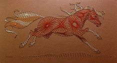 String Art PONY - Curve Stitching, Horse, Horses, Chestnut Ponies, Cool Mixed Media Piece 7 by 13 Inches