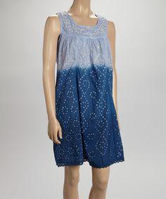 Purple & Blue Tie-Dye Embroidered Sleeveless Dress #zulily #zulilyfinds