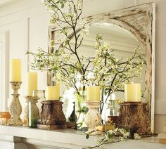 Pottery Barn Mantel Decor | Mirror reflects light so can brighten a dark space such as a ...