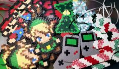 Pixel Sprite Ornaments! Order by DEC 5TH to guarantee a 12/25 delivery! To order, visit LadyLindsaysCreations.com Orders are secure via PayPal & you don't need an acct to buy! #Crochet #Beanie #CandyCane #Mario #ChristmasTree #LegendOfZelda #Link #Gameboy #MarioBros #ShopSmall #Art #Snowflake #Nerd #Geek #Otaku #Anime #Comicbook #Videogame #Pixel #Handmade #8bit #Ornament #Plushie #Christmas #Holiday #Amigurumi #Nintendo #PixelSprite #PicOfTheDay #Love