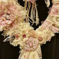 Check out this item in my Etsy shop https://www.etsy.com/listing/464002211/tattered-shabby-chic-wreath-rag-lace