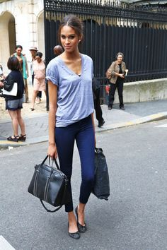 #casual chic - #navy cropped pants & ballet #flats, I find this outfit perfect when you travel, do you agree?