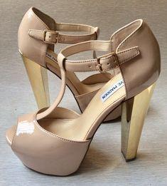STEVE MADDEN Patent Beige Platform Sandals Size 8 Women Shoes Gold High  Heels