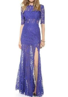6c05376bc Blue Patchwork Hollow-out Lace Zipper Side Slit Fashion Maxi Dress