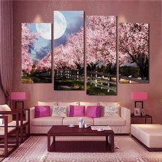 Cheap oil painting, Buy Quality art pictures directly from China canvas oil painting Suppliers: 4 Piece Sakura Wall Art Picture Printed Canvas Oil Painting High Quality Home Decal Modular Picture wall paintings Unframed Living Room Pictures, Wall Art Pictures, Painting Pictures, Canvas Pictures, Wall Painting Flowers, Wall Paintings, Painting Canvas, Hanging Paintings, Canvas Art
