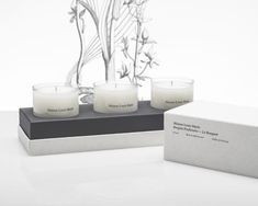 "Maison Louis Marie candle Gift Set ""L'Aurore"" includes a Scalpay, Le Long Fond, L'Etang Noir. This Set is comprised of 3 scented candles w Candle Packaging, Candle Labels, Candle Box, Candle Holders, Girlfriends Be Like, Bouquet, Gifts For Your Girlfriend, Product Label, Scented Candles"